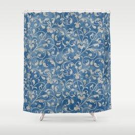 Damask Denim Blue Background with Flowering Vine Floral in Mottled Gray Shower Curtain