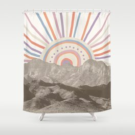 Summerlin Mountain Up // Abstract Vintage Mountains Summer Sun Surf Beach Vibe Drawing Happy Wall Ha Shower Curtain