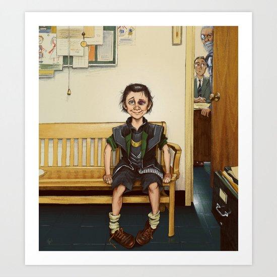 Loki Outside the Principal's Office Art Print