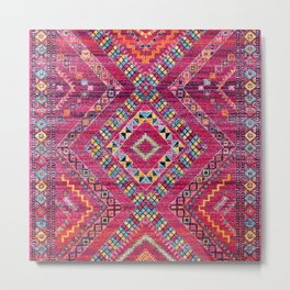 N118 - Pink Colored Oriental Traditional Bohemian Moroccan Artwork. Metal Print