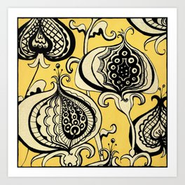 Black and Yellow Floral Art Print