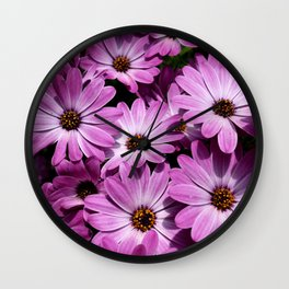 Purple daisies Wall Clock