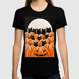 Black Cats in the Pumpkin Patch T-shirt