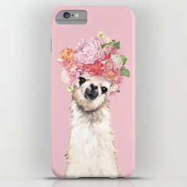 Llama with Flower Crown in Pink iPhone Case