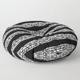Pattern cell sequence digital nanquim black and white Floor Pillow