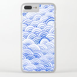 Watercolor Waves - China Blue Clear iPhone Case