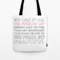misfits Tote Bags featuring misfits by Angela Schroder