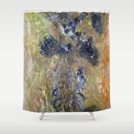 Embedded Emotions - Mixed Media Beeswax Encaustic Abstract Modern Fine Art, 2015 Shower Curtain