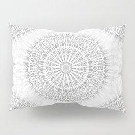 Gray White Mandala Pillow Sham