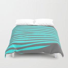 Aqua & Gray Stripes Duvet Cover