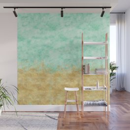 Pretty Mint Gold Glam Watercolor Wall Mural