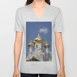Onion Domes Alexander Nevsky Cathedral Unisex V-Neck