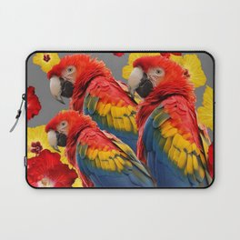 TROPICAL FLORAL MACAWS & RED YELLOW HIBISCUS FLOWERS Laptop Sleeve