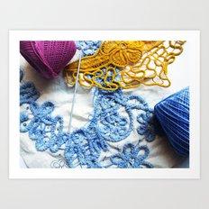 Romanian Point Lace Blue Lace Photography  Art Print