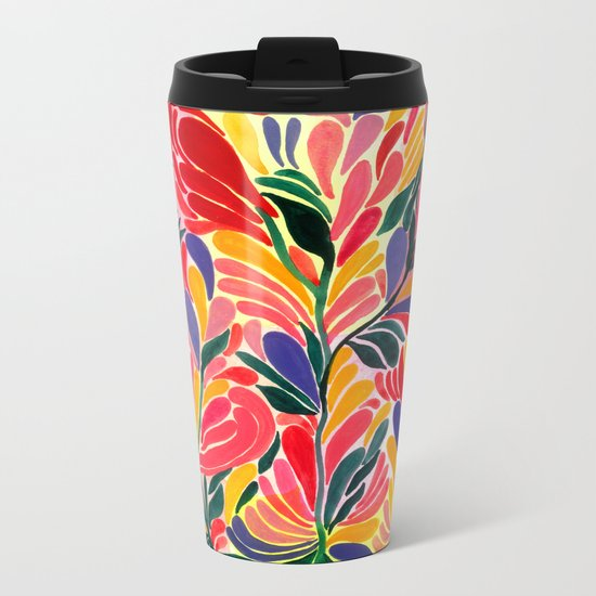 Colorful Petals Pattern Metal Travel Mug
