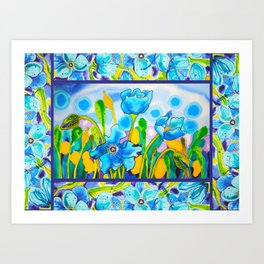 Blue Poppies 1 with Border Art Print
