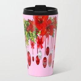 RED AMARYLLIS FLOWERS & HOLIDAY ORNAMENTS PINK DECOR Travel Mug