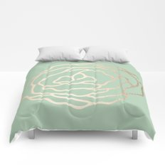 Rose White Gold Sands on Pastel Cactus Green Comforters