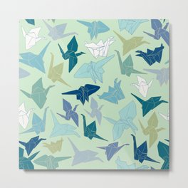 Paper Cranes- Green Metal Print