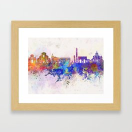 Bologna skyline in watercolor background Framed Art Print