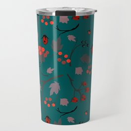 Red berry, Christmas Brier Spray Pattern Travel Mug