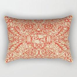 Rubino Red Floral Rectangular Pillow