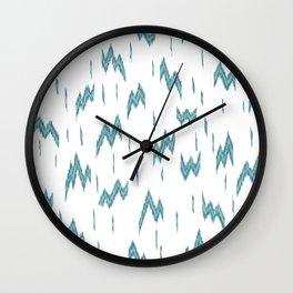 GEOMETIRC IKAT LIGHTENING BOLT - TEAL & WHITE Wall Clock