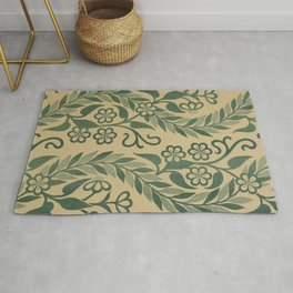 Light Green Leafy Vines Design Rug
