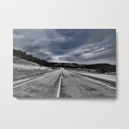 Black and white photo of road with blue sky  Metal Print