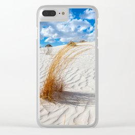 Playground - Vibrant Plant Life and Sandy Textures at White Sands New Mexico Clear iPhone Case