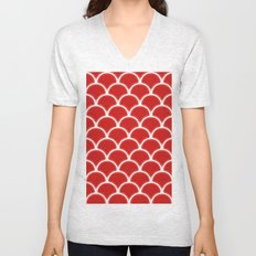 Large scallops in fabulous fiesta red Unisex V-Neck