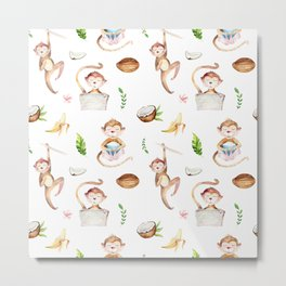 Tropical pink brown green watercolor monkey coconut floral Metal Print