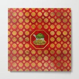 Golden Tortoise / Turtle Feng Shui on red Metal Print
