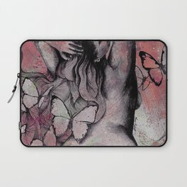 Sugar Coated Sour: Pomegranate (nude curvy pin up with butterflies) Laptop Sleeve