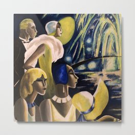 Fireworks, Jazz Age, New Years Eve roaring twenties 1929 landscape painting by Dödo Metal Print