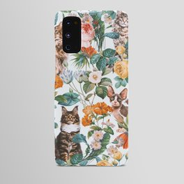 Cat and Floral Pattern III Android Case