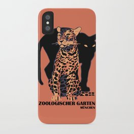 Retro vintage Munich Zoo big cats iPhone Case