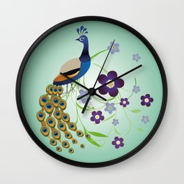 Peacock with flowers Wall Clock