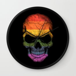 Dark Skull with Gay Pride Rainbow Flag Wall Clock