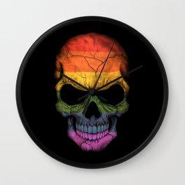Dark Skull with Gay Pride Rainbow Flag Wall Clock