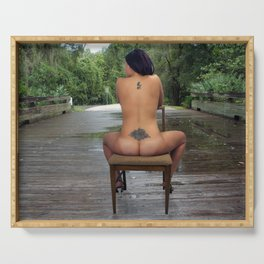 Nude Woman Sitting on a Bridge Serving Tray