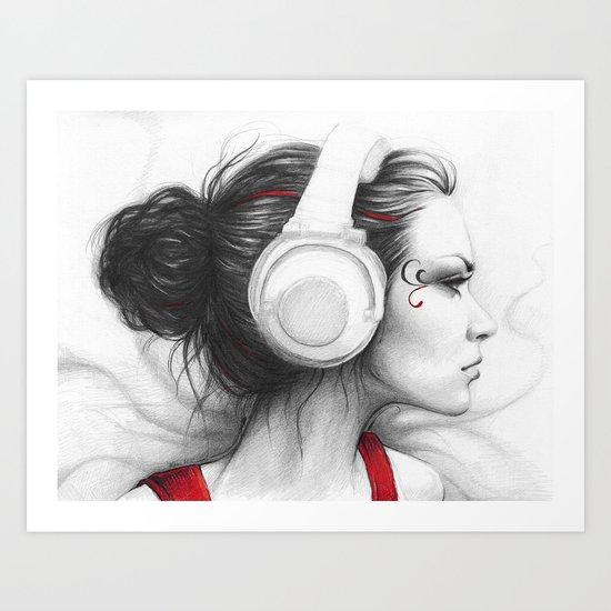 MUSIC Girl in Headphones Art Print