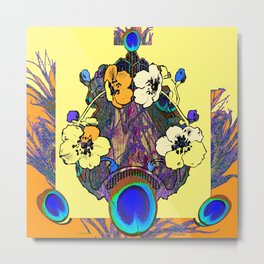 Decorative Modern Art Nouveau Peacock Floral Patterns Metal Print