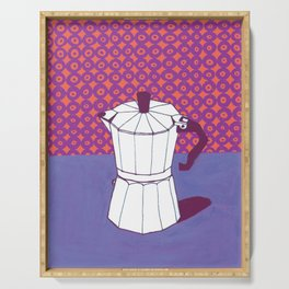 Coffee Pot with Wallpaper (Purple) Serving Tray