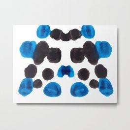 Blue Turquoise Inkblot Organic Pattern Metal Print