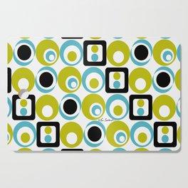 Lime Turq Black White Circles Squares Cutting Board