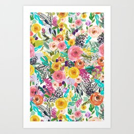 Vibrant Autumn Floral with Turquoise Art Print