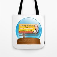 better call saul Tote Bags featuring Better Call Saul! by tuditees