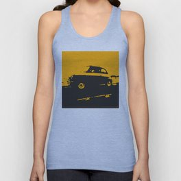 Fiat 500 classic, Yellow on Black Unisex Tank Top