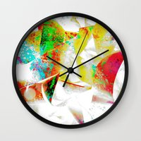 silver Wall Clocks featuring Silver by Yilan